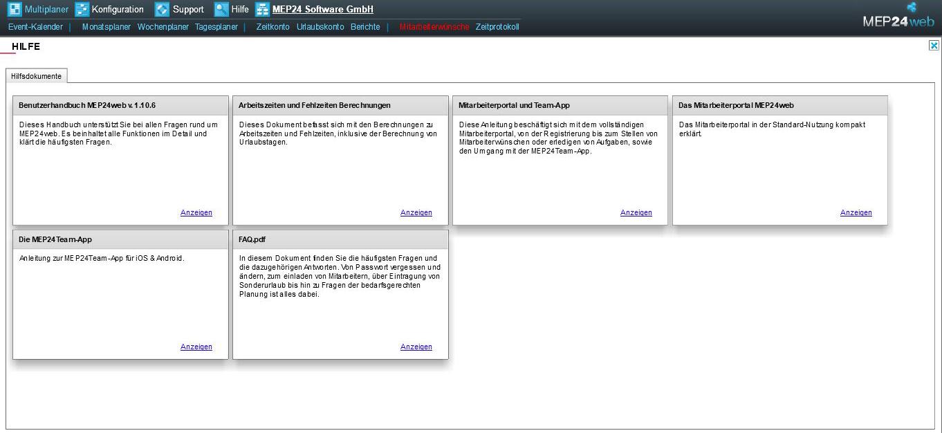 Hilfebereich MEP24web